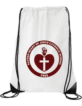 Sacred Heart Emblem (Burgundy) White Drawstring Pack 8886