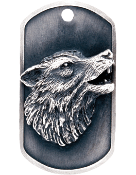 SS-DT-M-08, Dog Tag Wolf Mascot (Embossed)