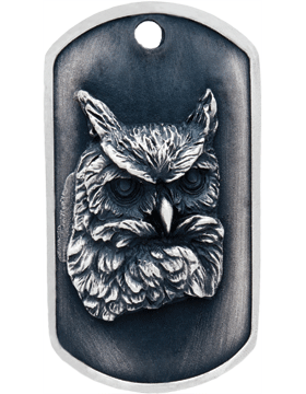 SS-DT-M-15, Dog Tag Owl Mascot (Embossed)