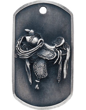 SS-DT-M-19, Dog Tag Western Saddle Mascot (Embossed)