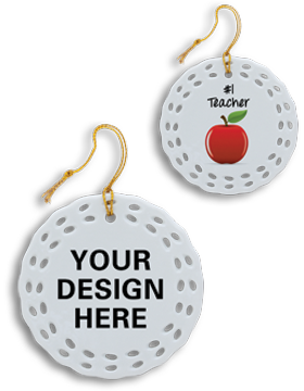 Sublimation Christmas Ornament, Porcelain Wreath 2.875in