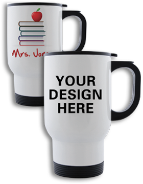 Custom Sublimation Travel Mug White, 14oz Stainless Steel