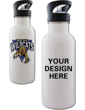 Custom Sublimation Water Bottle, White Stainless 600ml