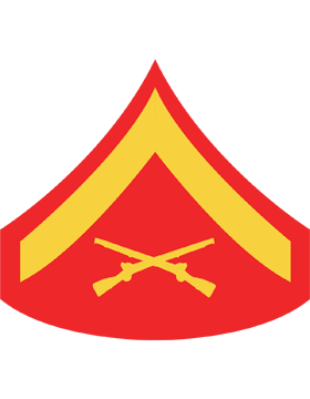 USMC Chevron Sticker Gold on Red Lance Corporal small