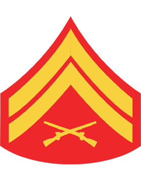 USMC Chevron Sticker Gold on Red Corporal