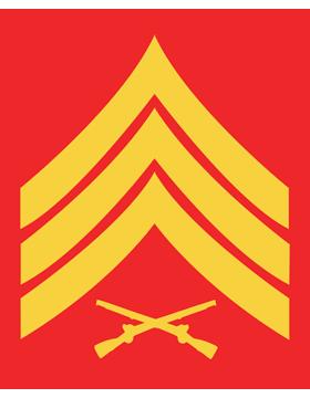 USMC Chevron Sticker Gold on Red Sergeant small