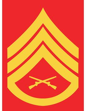USMC Chevron Sticker Gold on Red Staff Sergeant small