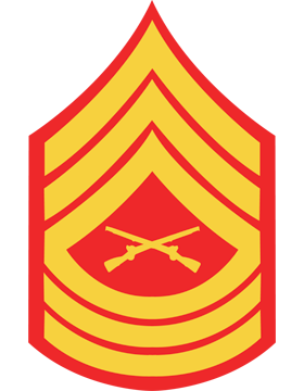 USMC Chevron Sticker Gold on Red Master Sergeant small