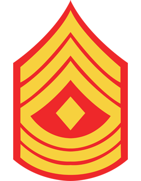 USMC Chevron Sticker Gold on Red First Sergeant small