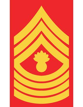 USMC Chevron Sticker Gold on Red Master Gunnery Sergeant small