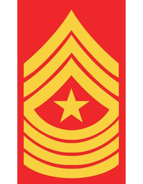 USMC Chevron Sticker Gold on Red Sergeant Major