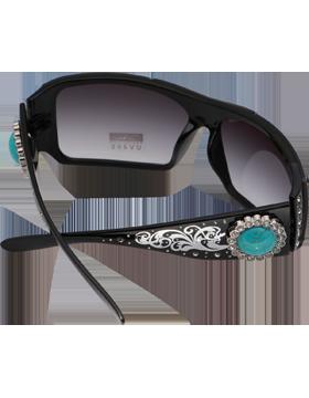 Turquoise Stone & Rhinestone Circle Black Frame Sunglasses Black Lens