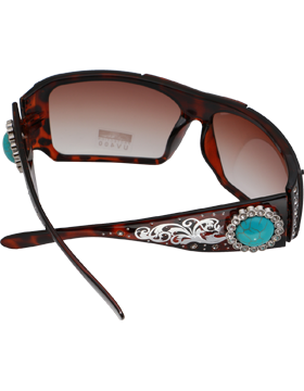 Turquoise Stone & Rhinestone Circle Leopard Frame Sunglasses with Amber Lens