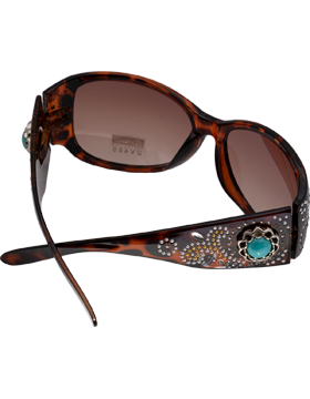 Turquoise Rhinestone Design Leopard Frame Sunglasses with Amber Lens