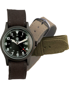 Military Watch 3 Interchangeable Straps Black Face