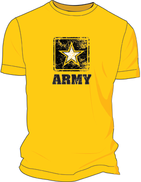 Army Star Distressed Screen Printed T-Shirt 4037