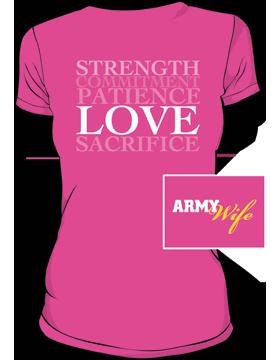 Army Wife Ringspun T-Shirt T-MIL-0006B Hot Pink