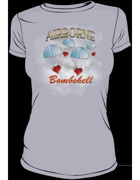 T-MIL-0007A, Airborne Bombshell, Heavyweight T-Shirt