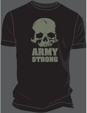 T-MIL-0018C, Skull - Army Strong, Black, Spaghetti Tank