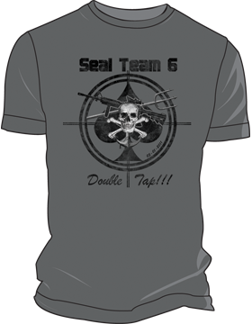 T-ST6-002 Seal Team 6 - Double Tap OBL T-Shirt Charcoal