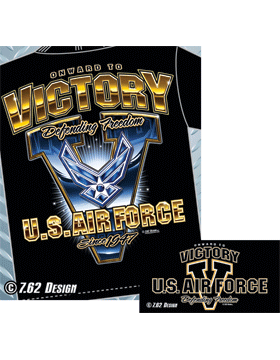 T-Shirt Black with USAF Victory V T217