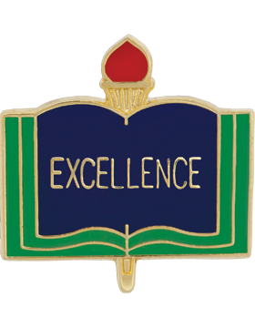 Enameled School Pin, Excellence, Open Book