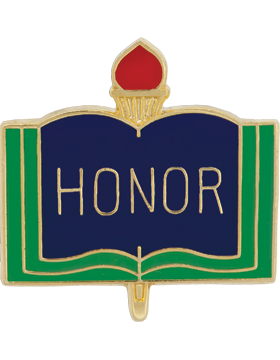 Enameled School Pin, Honor, Open Book