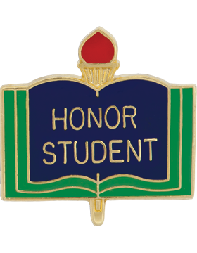 Enameled School Pin, Honor Student, Open Book