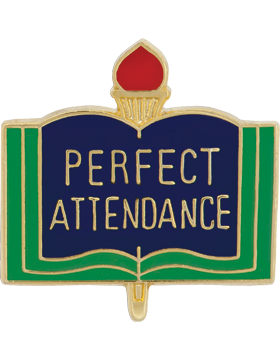 Enameled School Pin, Perfect Attendance, Open Book