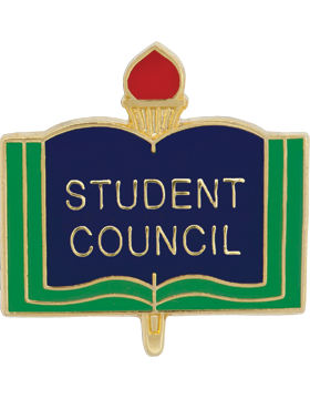 Enameled School Pin, Student Council, Open Book