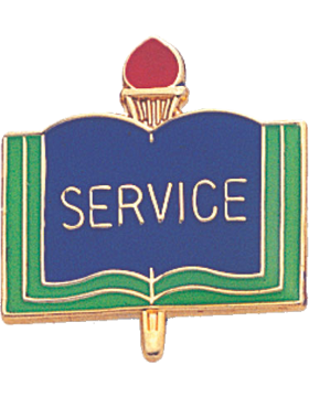 Enameled School Pin, Service, Open Book