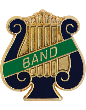 Enameled Band Pin, Music Lyre with BAND