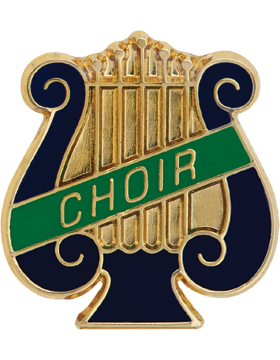 Enameled Band Pin, Music Lyre with CHOIR