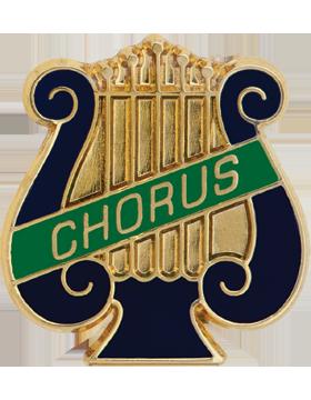 Enameled Band Pin, Music Lyre with CHORUS