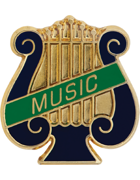 Enameled Band Pin, Music Lyre with MUSIC