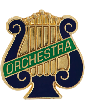 Enameled Band Pin, Music Lyre with ORCHESTRA