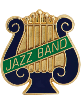 Enameled Band Pin, Music Lyre with JAZZ BAND