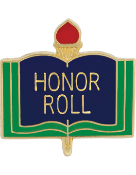 Enameled School Pin, Honor Roll, Open Book