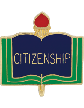 Enameled School Pin, Citizenship, Open Book