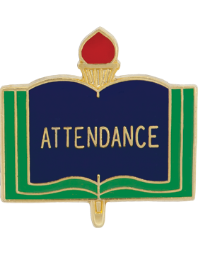Enameled School Pin, Attendance, Open Book