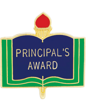 Enameled School Pin, Principal's Award, Open Book