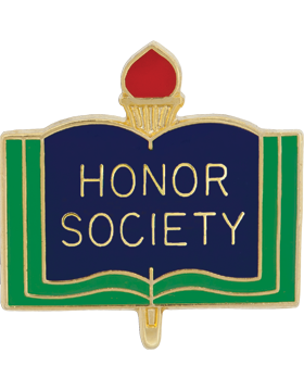 Enameled School Pin, Honor Society, Open Book