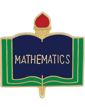 Enameled School Pin, Mathematics, Open Book
