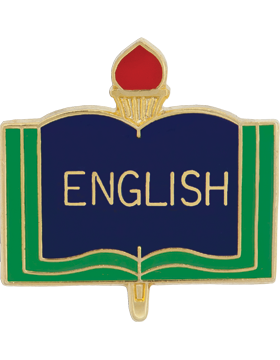 Enameled School Pin, English, Open Book