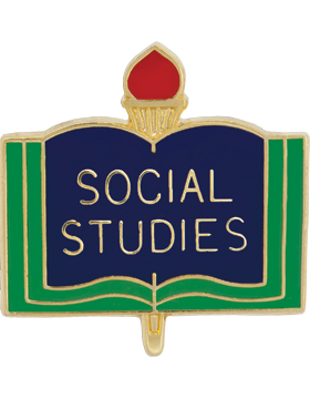 Enameled School Pin, Social Studies, Open Book