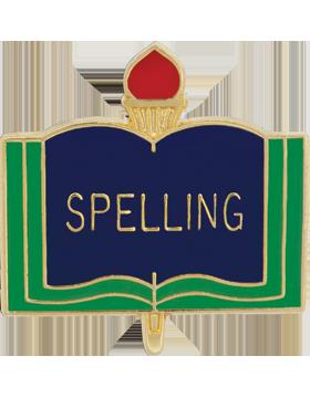 Enameled School Pin, Spelling, Open Book