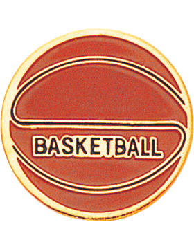 Enameled Sports Pin, Basketball