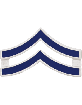 Police Rank (U-121S) Corporal Blue Enamel Silver Finish