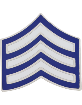 Police Rank (U-127S) Sergeant Blue and White Enamel Silver Finish