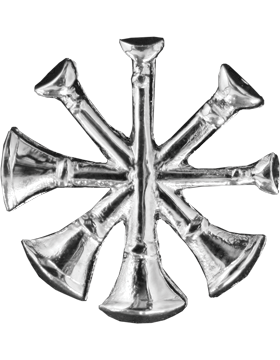 Collar Device U-605S Four Bugles Silver (Pair)